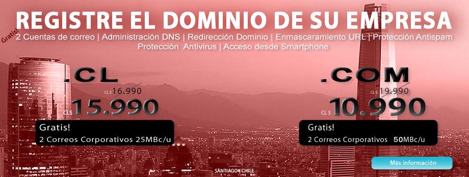 Nombres de dominio .cl Gratis 2 cuentas de correo, Nombres de dominio .com, .net, .org, .net
